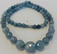 aquamarine sterling - 6 mm Brazilian Aquamarine Faceted Gemstone Round Beads Necklace quot