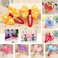 baby acessories - Hot Selling Cute Kids Hair Acessories Mix Color Ribbon Bow Hairpins For Baby Girl Children BB Clips Barrettes