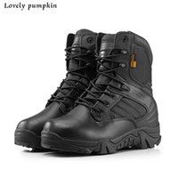 Cheap 2016 New Delta Brand Military Tactical Boots Desert Combat Outdoor Army Hiking Travel Shoes Leather boats Autumn Ankle Men Boots