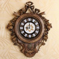 Wholesale Top Design Hot Sell Quiet Resin Wall Clock Vintage Home Decor Fashionable Creative Wall Clocks Suitable For Living Room