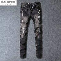 Wholesale Balmain High Quality Men s fashion hole ripped biker jeans Male casual vintage black patch washed denim pants Long trousers