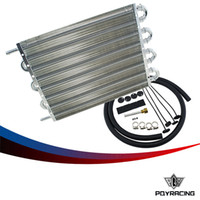 aluminum auto radiators - PQY RACING UNIVERSAL ALUMINUM REMOTE TRANSMISSION OIL COOLER KIT AUTO MANUAL RADIATOR CONVERTER ITEM SIZE X254X19 PQY7431