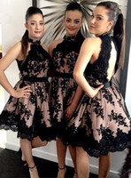 Wholesale 2016 New Short Modest Homecoming Dresses High Neck Appliques Beaded Backless Knee Length Junior Graduation Party Cocktail Gowns Cheap Custom