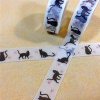 Wholesale 15mm m Adhesive Tapes Single sided cat footprint washi tapes for stationery school supplies new arrival