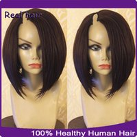 Wholesale 1 Right Opening U Part Human Hair Wigs A Brazilian Light Yaki Straight Short Bob Wigs For Black Women Upart Wig Virgin Hair