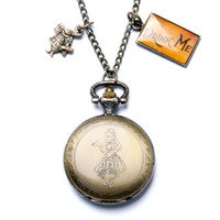 alice collections - Hot Fashion Theme Alice in Wonderland Pocket Watch Pendant Alice amp Rabbit Necklace Cosplay Collection