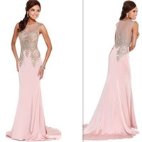 Wholesale Light Pink Dubai Pageant Dresses Mermaid Style Sheer Evening Party Gowns Long Floor Length Special Occasion Girls Prom Dress China