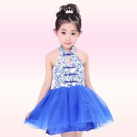 ballroom dress patterns - Kids Ballroom Tutu Dance Dresses Blue and white porcelain Pattern Sleeveless Bubble Girls Dresses Party Dresses Blue Stage Costumes PWY4
