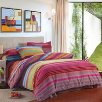 Wholesale Striped Full Flat Sheet - 2016 New Pure Cotton Sanding 4pcs Bedding Set Dovet Cover Flat Sheet Pillow Case Twin Full Queen King Size Warm Comfortable Bedding Supplies