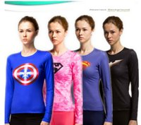 seco super al por mayor-Mujeres Compression Under Base Layer Top Tight Camiseta Super Hero Ciclismo Jersey Alta Elasticidad Seca Rápida Manga Larga