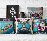 Wholesale novelty gift funny fat cat sunglasses pattern linen cushion cover home decorative throw pillow Case