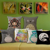 anime bedding - Cotton Linen Square Cushion cover Decorative Anime My Neighbor Totoro Pattern Pillow case Bed big X45cm without filling