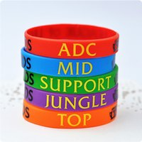american support - Classic LOL Game Souvenirs Wristband Silicone Bracelet Legend Bangles ADC Jungle Support Mid Top Charms Collection Print Band