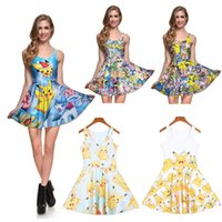 sexy cartoon girl - NEW Arrival Sexy Girl Women Summer Cartoon Pocket Monsters Pikachu D Prints Reversible Sleeveless Skater Pleated Dress Plus Size