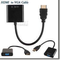 adapter video converters - 1080p HDMI to VGA Converter Audio Video Cables DP Display Port Male to VGA Female Converter Adapter Cable DHL With Opp Package