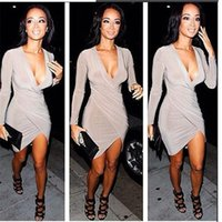 Wholesale Club Clothing Clubwear - Long Sleeve Mini Prom Party Dresses V-neck Clubwear Evening Cocktail Dress Hot Womens Sexy Slim Bodycon Bandage Dress Women Clothes