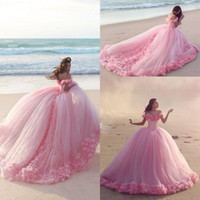 Wholesale 2016 Puffy Pink Quinceanera Dresses Princess Cinderella Formal Long Ball Gown Sweet Prom Party Gowns Court Train Off Shoulder D Flower