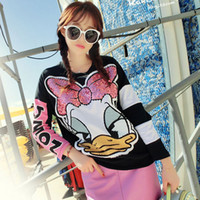 Wholesale Women Fashion Donald Duck Sweatshirt With Sequin Cartoon Loose Long Sleeve Sweatshirt