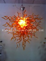 amber chandelier crystals - New Arrival Hand Blown Glass Chandelier Lights Modern Amber Colored Crystal Hanging Glass Chain Chandelier Lamps for Home