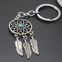 Wholesale Dreamcatcher Feather Mixed Color Plastic Beads Keychain Keyring Gift Tibetan Silver Dream Catcher Charm Key Chain