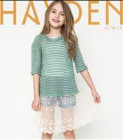 Wholesale Children S Wholesale Lace Dress - Big Girls knitting pullover kids lace hem half sleeve dress tops children jumper 7-14T autumn new children clothing A9492