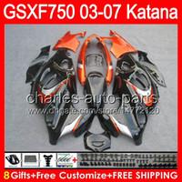 Wholesale gloss orange gifts For SUZUKI KATANA GSXF GSX F750 NO25 GSX750F GSXF750 black Fairing