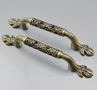 antique brass handle - 2pcs MM Bronze Antique Art Furniture Hardware Handles Door Drawer Wardrobe Kitchen Cabinets Cupboard Pull Knobs Accessories