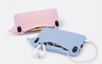 big headphone case - 3D Silicone Soft Case For iPhone5 S SE S Big Mouth Whale Cartoon Rubber Phone Case Storage Back Cover Headphones Housing Card Holder