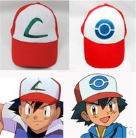 Wholesale Fashion Poke Mon Hat Poke Ash Costume Cosplay Cap Poke Poket Monest ASH baseball hats Caps