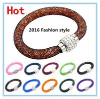 Wholesale 2016 cheap New Bohemian Stardust Bracelet Women Crystal Wrap Wristband Rhinestone shangrila Magnetic buckle bracelets bangles A0114