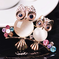 Wholesale Hot selling Jewelry Vintage Owl Brooch design of opal animal suitable with suits its exquisite accessories
