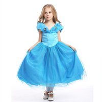 Wholesale Baby Kids Clothing Girl s Dresses Cosplay Costumes Halloween Day Christmas Classic Fairy Tales Cinderella blue princess Dress