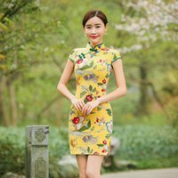 Wholesale 2016 fashion classic improved cheongsam comfortable cotton and flax cultivate one s morality short type traditional Chinese dresses