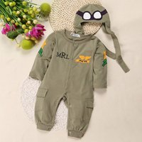 air force jumpsuits - Retail Autumn Winter Baby Boys Pilot Costume Baby Romper Little Boys Air Force Captain Green Long Sleeve Romper Jumpsuit with Hat