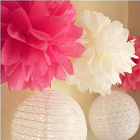 Wholesale 30cm Colorful Tissue Paper Flowers Ball Craft Paper Flowers Pom Poms for Christmas Wedding Party Birthday Decor Supplies