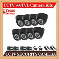 al por mayor 8pcs cctv-CIA-Dome 8pcs / lot de la vigilancia en interiores de la cámara de seguridad CCTV impermeable del IR 800TVL CMOS, 20M kit de visión nocturna cámara de circuito cerrado de televisión por cable incluido