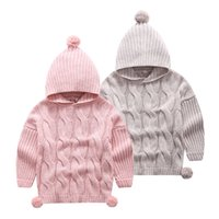 Wholesale New Autumn Winter Kids Girl Sweater Long Sleeve Hooded Pullover Cotton Knitting Toddler Sweaters Tops Color
