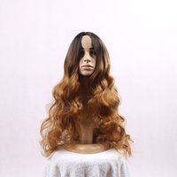 Wholesale Natural Hairline wavy ombre black to brown two tone synthetic wig for Black Women cm g