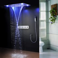 Cheap 5-way LED bathroom shower mixer tap faucet luxury Bathroom 600*800mm Multi-Function electricity light Rainfall Shower head