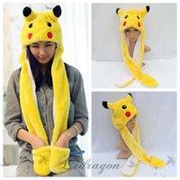 Wholesale Pikachu Cartoon Plush Animal Faux Fur Full Hood Kids Hat Women Children Costume Beanie with Long Scarf Mittens Gloves Earmuffs Z544
