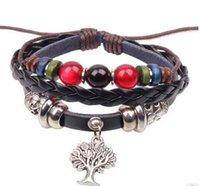 amazon bead - Fashion Vintage Bead Leather Men Women Bracelet Mutli Layer Tree Charm Braided Femal Bracelet Jewelry Hot On Amazon