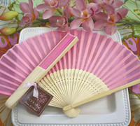 Wholesale Chinese Silk Bamboo Hand Fans Wedding Fan Bridal Accessories New Arrival Party Gift different mixed color Cheap Bamboo Chinese Silk fan