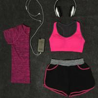 Wholesale 3 Yoga Set Girl Sportwear Suit Elastic woman sport Bra Yoga Suit Fitness Workout Clothing Quick Dry
