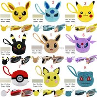 baby keychain - 9 Styles Poke pokémon go wallet bags Children cartoon Poke Ball Pikachu Jeni turtle Sylveon Keychain wallet baby bag inch C1138