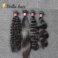 al por mayor 32 trama del pelo humano-El pelo brasileño teje el pelo humano empaqueta las ondas rizadas de la onda del cuerpo recto profundamente 3pcs Extensiones del pelo Bellahair doblan la trama 7A