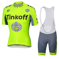 cycle - Tinkoff Saxo Bank Cycling Jersey Set With Bib Shorts mtb Pro Team Bike Fluorescent Cycling Clothing Hot Selling