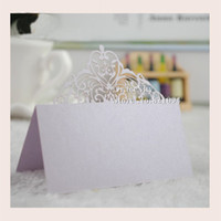 beautiful gift cards - 50pcs Beautiful Lace Crown Laser Cut Paper Place Seat Name Invitation Card for Wedding Birthday Party Table Decorations