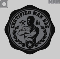 Wholesale 3pcs CERTIFIED MAN BAG Patch D Rubber PVC Tactical Patch Military Armband Badge Black Army Green