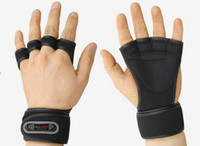 Wholesale Black Fitness Gloves Weight Lifting Gym Workout Training Wrist Wrap Strap Men or Women New