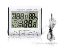 al por mayor electrónica externa-Temperatura Humedad LCD Digital Termómetro Medidor de higrómetro w / cableado sensor externo electrónico 2015 Nuevo DC103 H302008